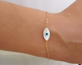 Evil Eye Bracelet, Dainty Evil Eye Charm, 14K Gold Bracelet, Best Friend Birthday Gift, Evil Eye Jewelry, Delicate Evil Eye Bracelet Gold.