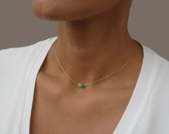 Dainty Turquoise Necklace, Bridesmaid Gift, Turquoise Bead, Dainty Gold Necklace, Gifts for Bridesmaids, 14K Gold Necklace, Teal Necklace