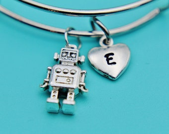 Silver Robot Charm Bangles, Silver Robot Heart Charm Bangles, Silver Robot Charm, Silver bangles, Robot Jewelry, Gifts for Her under 30
