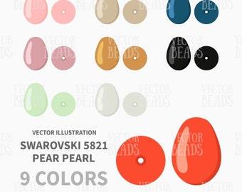 Swarovski 5821 Pear Shaped Pearls Vector Illustration - ai, eps, pdf, png