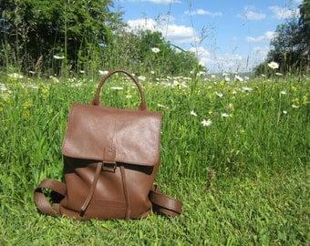 Brown Leather backpack, BrownLeather Bucket Bag, leather handbag.