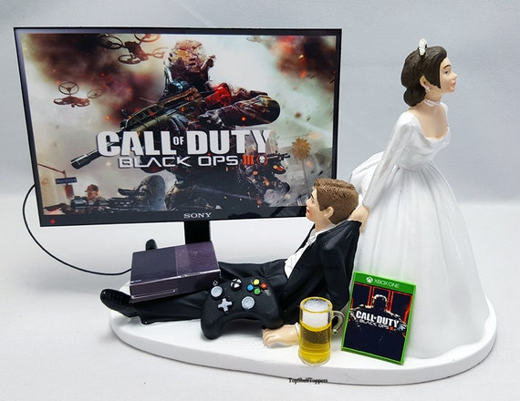 funny wedding cake toppers xbox cod blk ops iii wedding cake topper gamer xbox one ps4 pc 14610