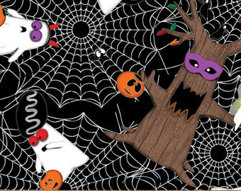 Halloween Fabric, Boooo Ville, ghosts and trees, black background by Benartex, 2427