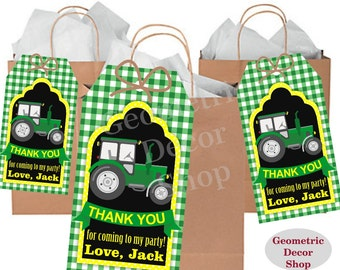 Thank you cards Tractor Favor tags digital gift Decoration birthday printable DIY Green Plaid Yellow Thank you card tag Chalkboard FTractor2