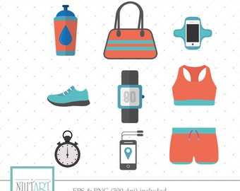 Sportswear clipart, Workout gear clipart, yoga clipart, Vector graphics, Running Clipart, Digital Images,  CL 010