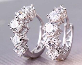 Sterling Silver Cz Huggy Earrings