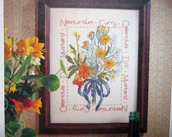 Summer Savory Herbs counted cross stitch pattern from out of print magazine