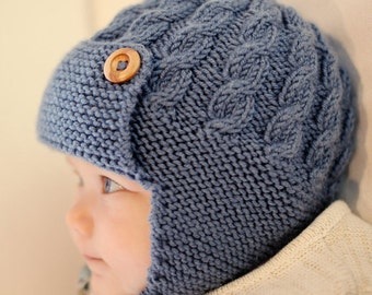 BABY KNITTED AVIATOR hat. Hand made with bamboo yarn. various colours. Eco .Vegan friendly.