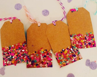 Handmade Gift Tags - Brown with Multicolor Polka Dot Confetti