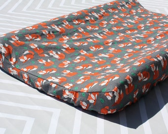 Woodland Nursery - Charcoal Fox Contoured Changing Pad Cover