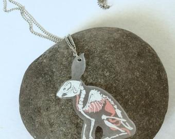 Rabbit X-Ray Skeleton & Organs [hand-drawn!] pendant necklace
