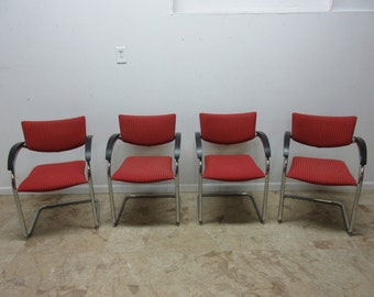 4 Kusch Cantaliver German Chrome Arm Chairs