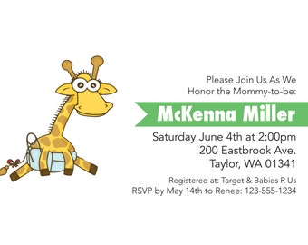Giraffe Baby Shower, Baby Shower DIY, Animal Baby Shower, Baby Shower Invite, Baby Shower Invitation, Africa Invitation