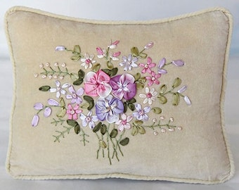 "DoLaMi | Silk Ribbon Embroidery | Hand Embroidered Pillow Cover 8""x10"""