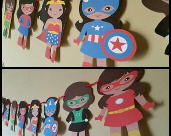 African American Girl Superhero Banner, Female Superhero Garland, Room Banner
