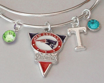 NFL Patriot CHARM Bangle W/ Birthstones/ Initial Football Charm Bangle / Bracelet - Patriots Bracelet -Gift For Her NFL Bangle  Usa  sp1