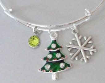 Christmas Tree / Snowflake CHRISTMAS Bangle W Birthstone - Adjustable BANGLE -Personalize Your Bangle/ Bracelet  Gift   Under 20
