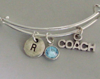 Coach  Bangle Bracelet  W/ A Birthstone - Initial Under Twenty / Sports Team Gift  Usa  H1