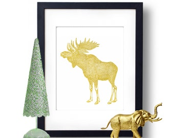 Moose Print, Moose Art, Gold Foil Print, Wall Art, Nature Gift Idea, Forest creatures