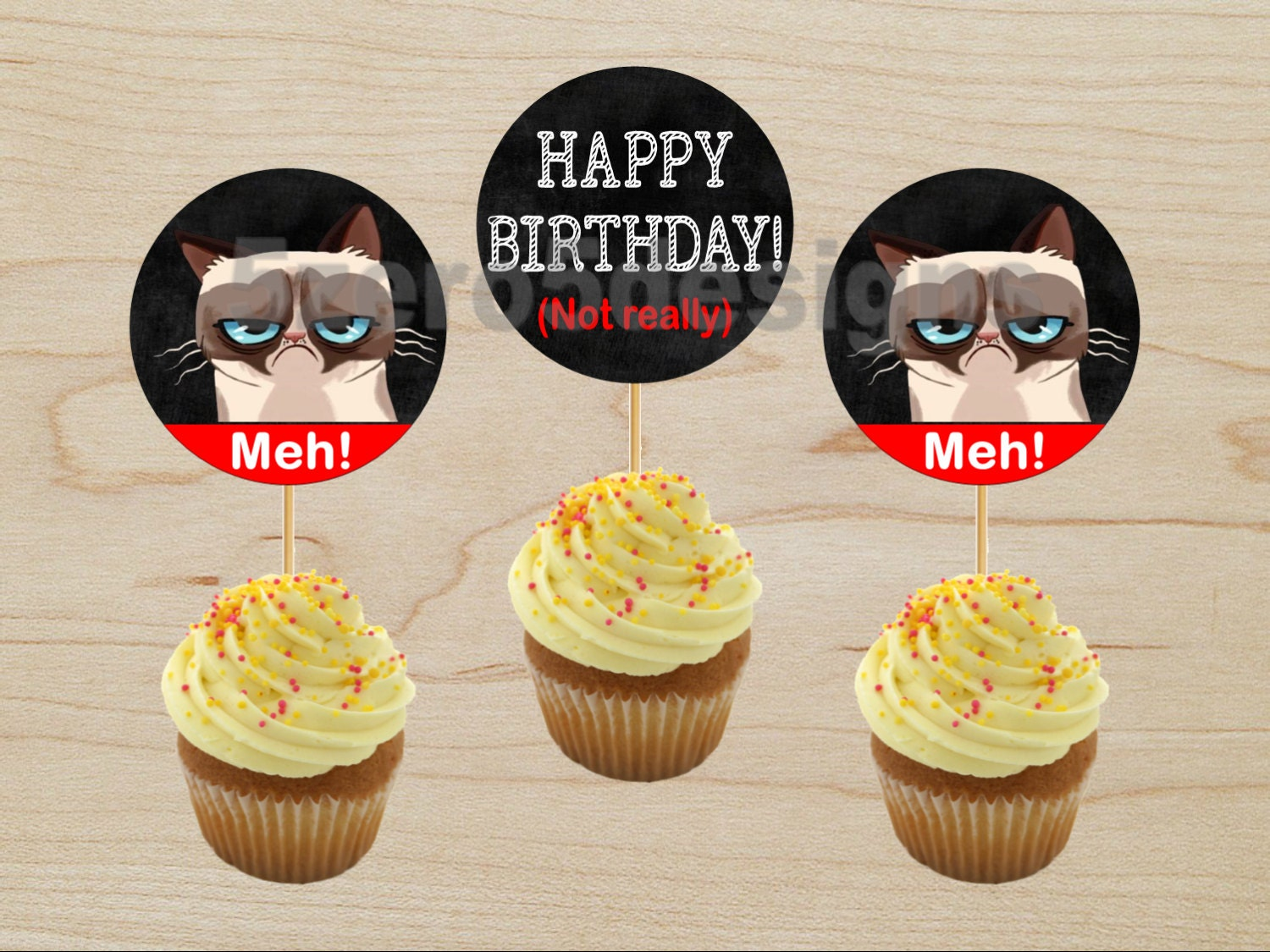 Grumpy Cat Cupcake Toppers Grumpy Cat Party Grumpy Cat