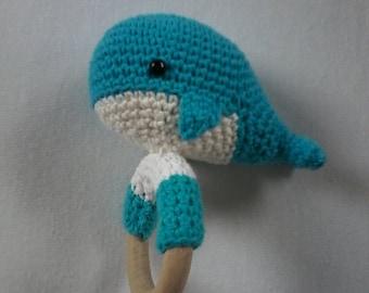 Crochet rattle whale