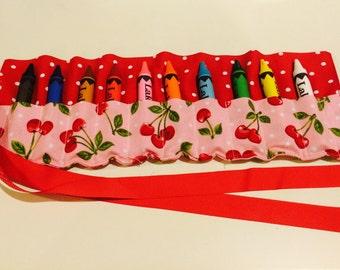 Crayon travel case, cherries, sweet, birthday gift, jumbo crayon case, polka dots, crayons, washable