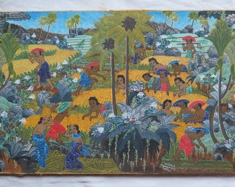 Bali painting Ubud Bali Indonesia signed original balinese landscape workers in the fields on canvas Bali Indonesia Campuhan