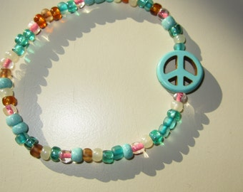 Beaded Stretch Peace Sign Bracelet