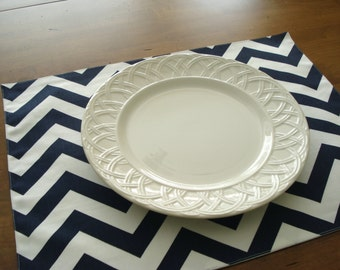 Cotton Handmade Placemats  Navy Blue and White Chevron Print - Set of 4 / Ready To Ship /Table Linens