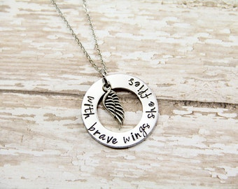 With brave wings she flies - Inspirational Necklace - Encouragement Necklace - Graduation Gift - Girl Gift - College Graduation Gift