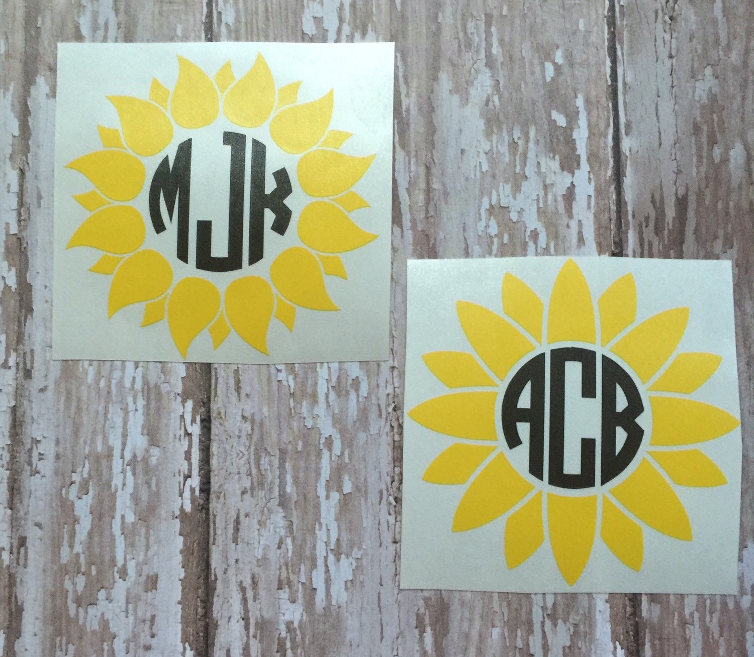 Sunflower Monogram Decal Empress Font Sunflower Car Decal