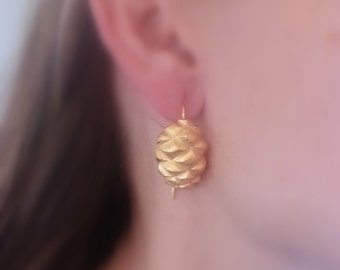Pine silver earrings/gold plated