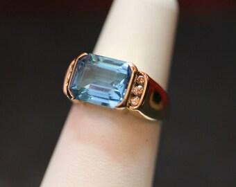 Ladies Blue Topaz and Diamond 14K ring