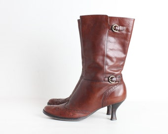 Reserved Size 8 Brown Leather High Heel Boots, 80s Women's Boots