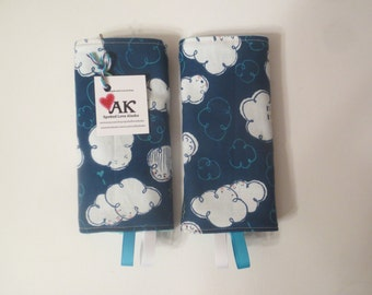 Reversible Clouds Teething Pads / Drool Pads for Ergo, Tula, Beco, Boba, Mei Tai, Lillebaby, Manduca