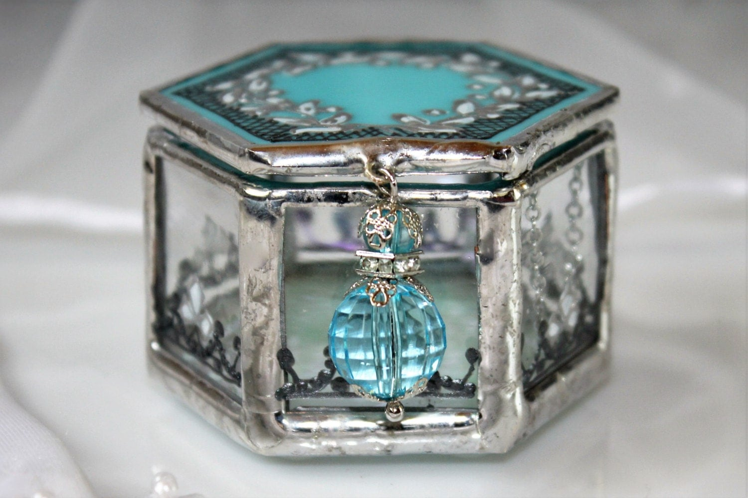 Turquoise wedding ring box fairy tale wedding ring holder for Wedding ring holder box