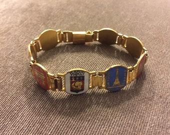 Lovely Vintage Paris Tourist Bracelet - Enamel and Gold Tone linked charms