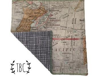 World Map Handkerchief - pocket square - edc - hanky - mens gift