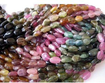 ON SALE 50% Tourmaline Beads, Oval Beads, Tourmaline Gemstone, Multi Tourmaline Beads, 6mm Each,  14 Inch Strand