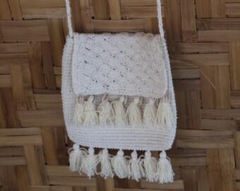 SAND Crochet tassel  shoulder bag