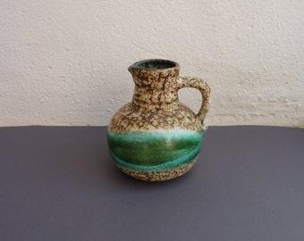 Fat lava Bay flower vase, beautiful bulbous handle vase, jar, ceramic vase vintage, green, turquoise