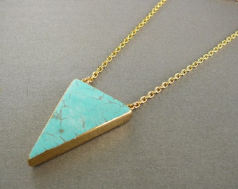 Turquoise Pendant Gold Turquoise Necklace Blue Necklace Gift for Women Gemstone Necklace for Girlfriend gift Turquoise Triangular Pendant