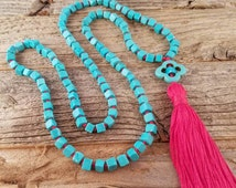 Turquoise and Red Mala, Southwest statement piece, Hand knotted prayer beads, Boho tassel necklace, Buddhist Meditation, 108 beads