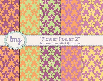 Flower Power Retro Colors Digital Paper Pack, Seamless Floral Patterns, Orange and Green, Pink and Yellow, Instant Download, Commercial Use