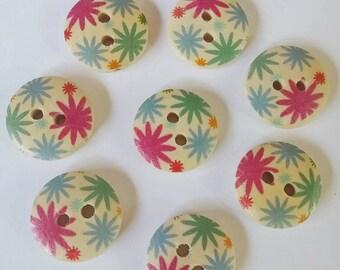 Wooden Flower Buttons x 8