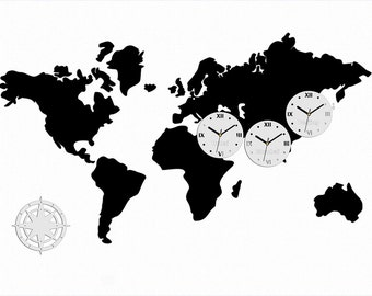 World map chalkboard etsy large wall clock world clock 3 time zones 1177cm x 70cm gumiabroncs Gallery