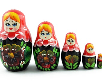 Matryoshka Matrioshka Russian Nesting Doll Babushka Wonderful Pansies Heartsease Set 5 Pieces