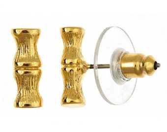 Mini Bamboo Stud Earrings, 18Kt Gold Plated - Harrison Morgan