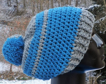 CAP, Bobble hat, blue, grey
