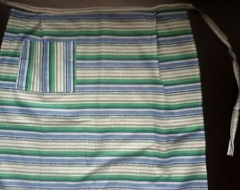 Vintage half apron with pocket, Retro cotton apron, Blue green white apron